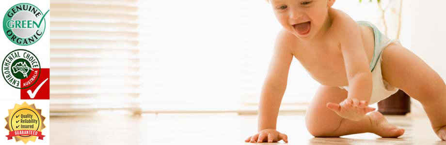 Baby Crawling on clean tiles and grout