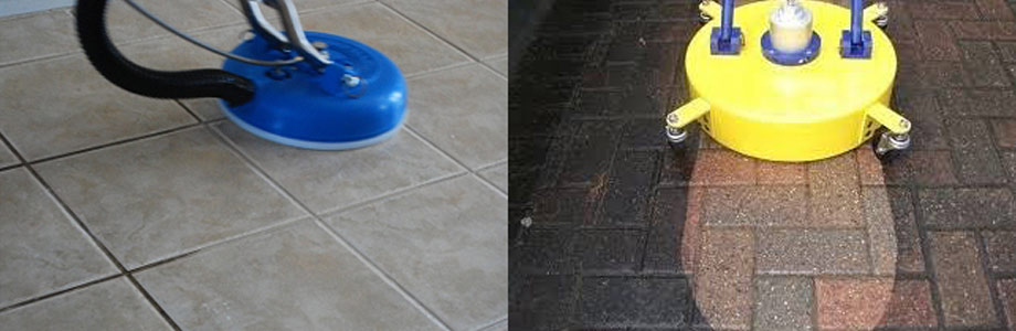 Comparison of tiles and grout being cleaned